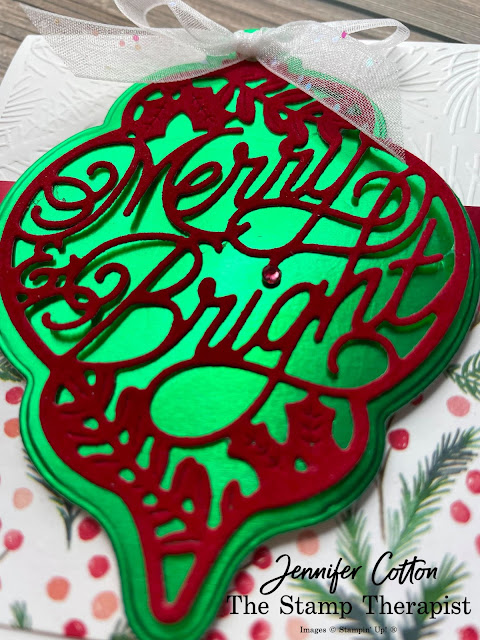 Stampin' Up! Bright Baubles Bundle card.  I also used these papers: Red Velvet Paper Pack, Painted Christmas DSP, and Red & Green Foil.  Embossing folder is Wintry.  Ribbon is White Glittered Organdy.  #StampinUp #StampTherapist #BrightBaubles
