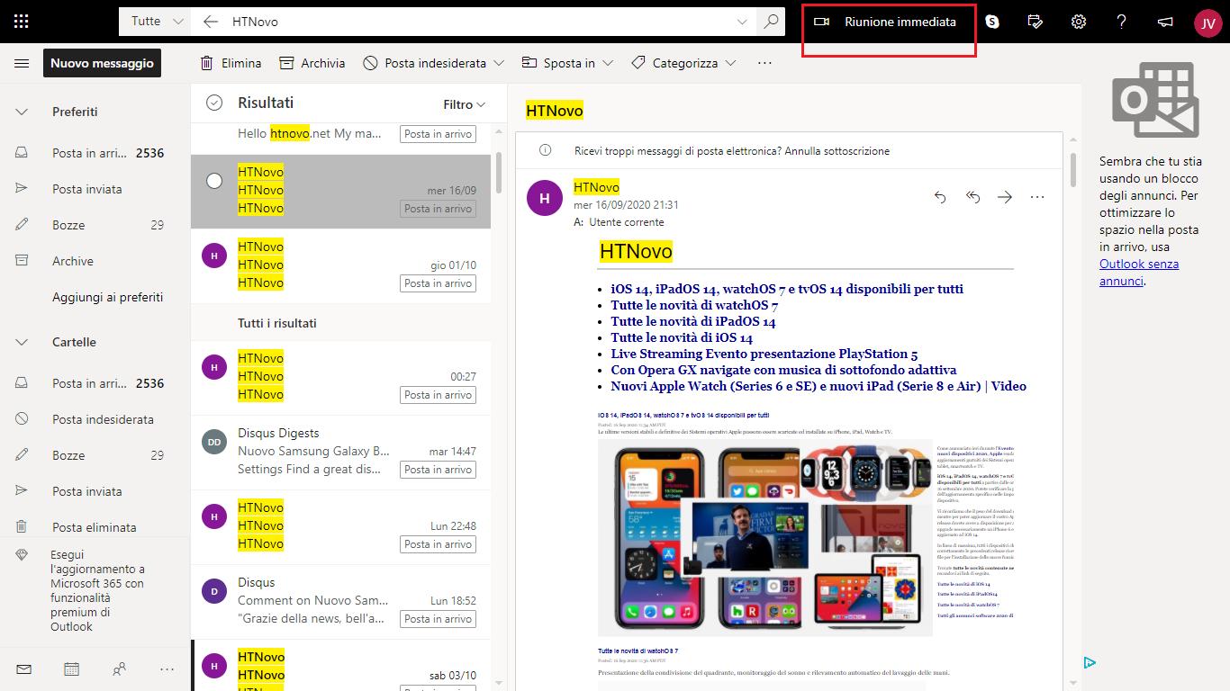 Outlook.com ottiene il tasto Riunione immediata per avviare videoconferenza Skype