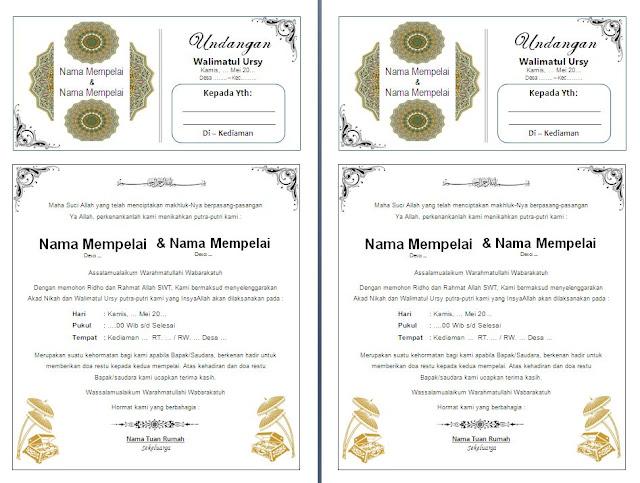 Contoh Undangan Pernikahan Walimatul Ursy / Walimatun Nikah