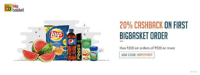 BigBasket- 20% Cash Back on First BigBasket Transaction