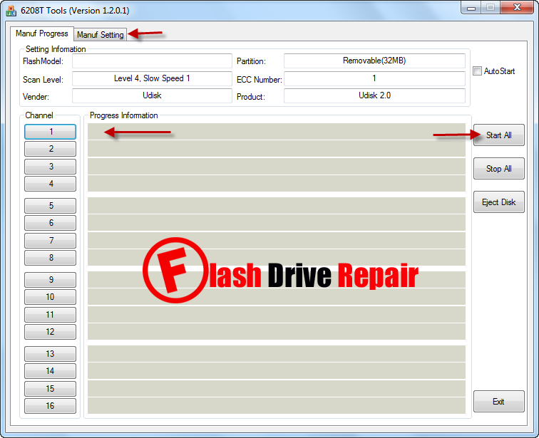 Ameco MW6208T USB 2.0 flash drive repair tool