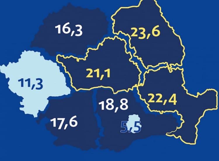 Harta abandonului şcolar în România