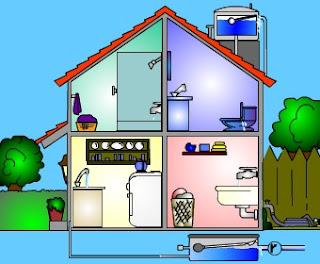 Dibujo de fugas de agua en el hogar