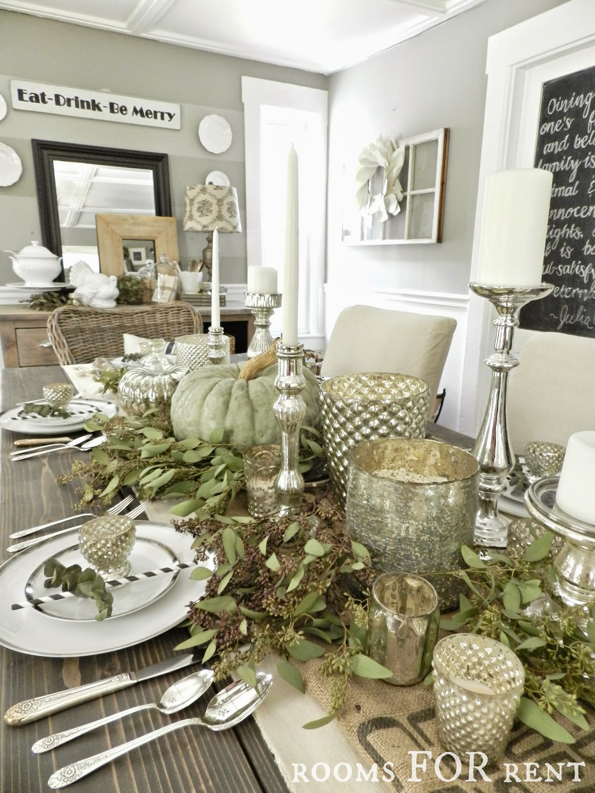 Green and Silver Mercury Glass Thanksgiving Tablescape from Rooms For Rent | Friday Favorites at www.andersonandgrant.com
