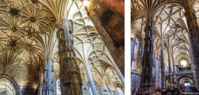 Colunas em forma de palmeiras na igreja de Santa Maria, no Mosteiro dos Jerónimos, Lisboa