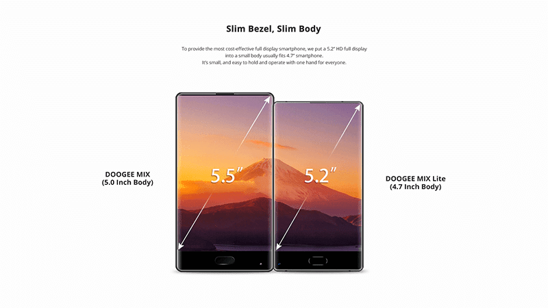 Slim bezels, 5.2 inch screen, 4.7 inch body!