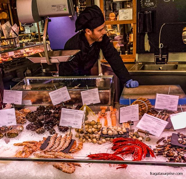 Frutos do mar do Mercado de San Miguel, em Madri