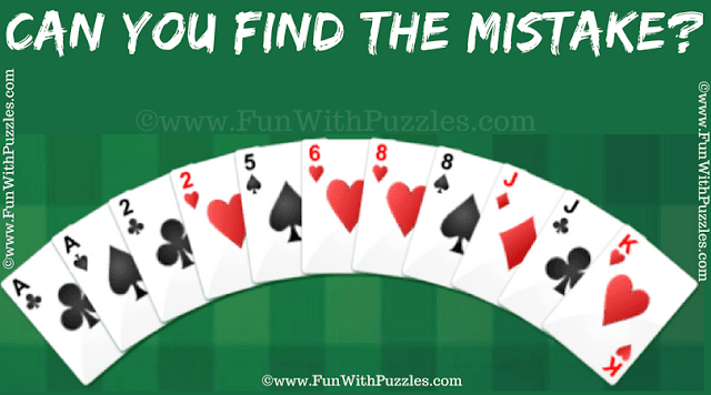In this Mistake Finding Puzzle, one has to find the mistake in the given Gin Rummy Card Game snapshot