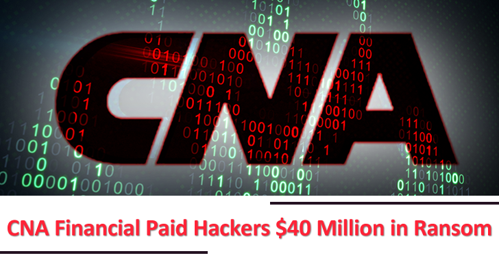 U.S Insurance Gaint CNA Financial Paid Hackers $40 Million in Ransom to Recover Files