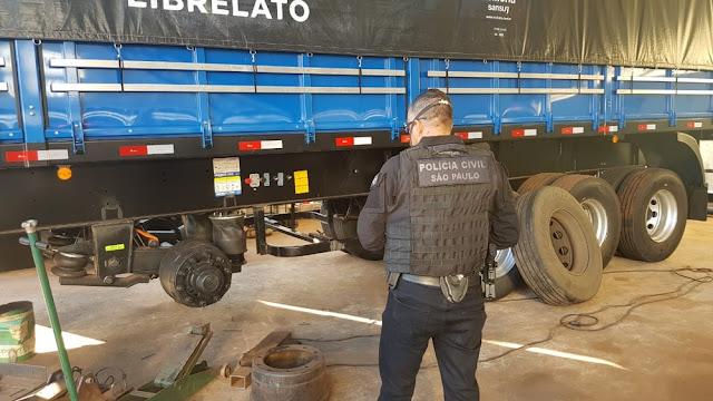 Organização criminosa que alterava semirreboques de caminhões é alvo de operação interestadual da Polícia Civil