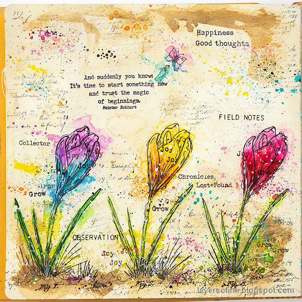 Layers of ink - Colorful Floral Art Journal Page by Anna-Karin Evaldsson.