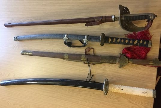 Photograph of swords surrendered during the 2017 amnesty  Image courtesy of Hertfordshire Constabulary