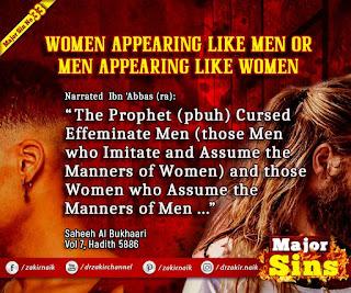MAJOR SIN. 33. WOMEN APPEARING LIKE MEN OR MEN APPEARING LIKE WOMEN