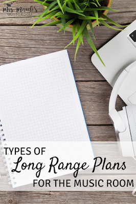 Types of long-range plans for the music room: Year plans, song lists, scope and sequence, and more!