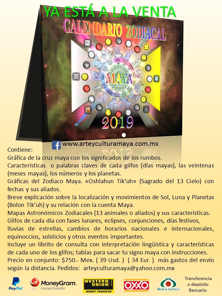 Calendario Zodiacal.Arte Y Cultura Maya Nuevo Calendario Zodiacal Maya 2019
