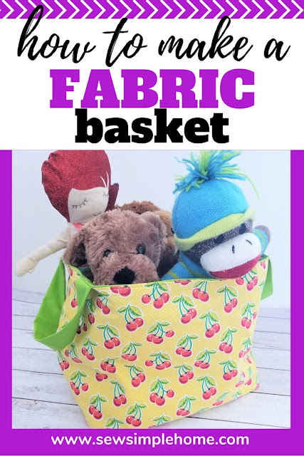 Learn How to Make a Fabric Basket Toy Bin with this free sewing pattern