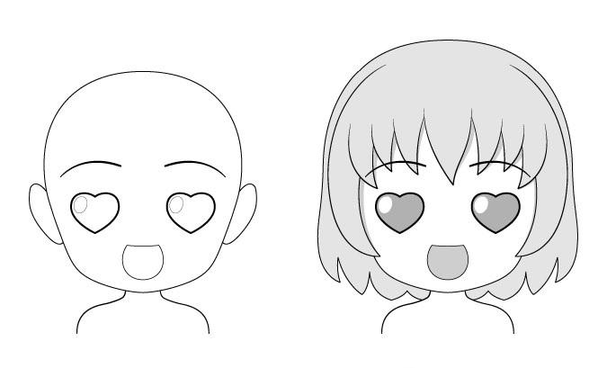 """Ekspresi wajah anime """"Cinta"""" chibi"""