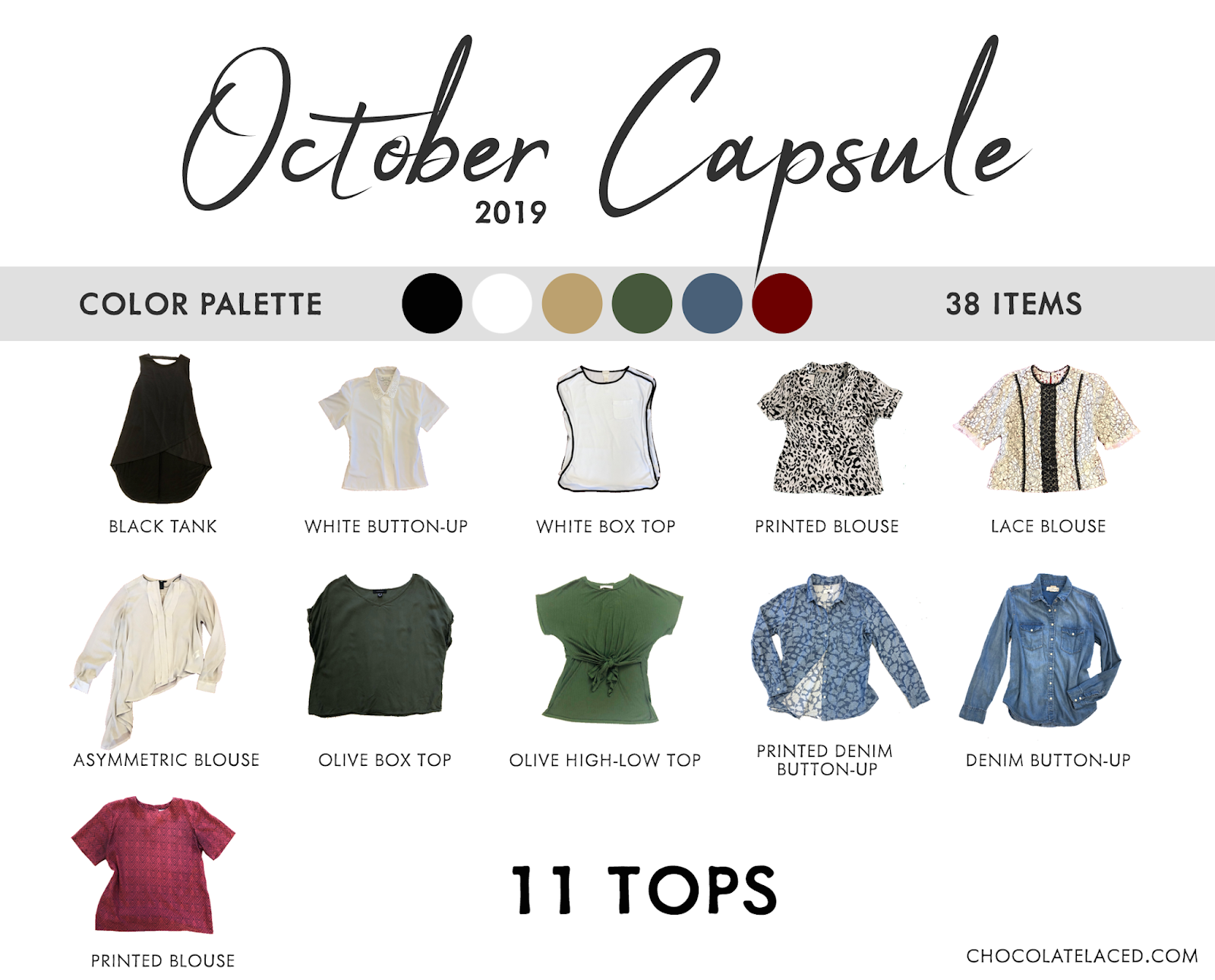 October capsule closet tops