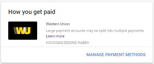 جديد طريقة تحويل الاموال من أدسنس إلى ويسترن يونيون western union