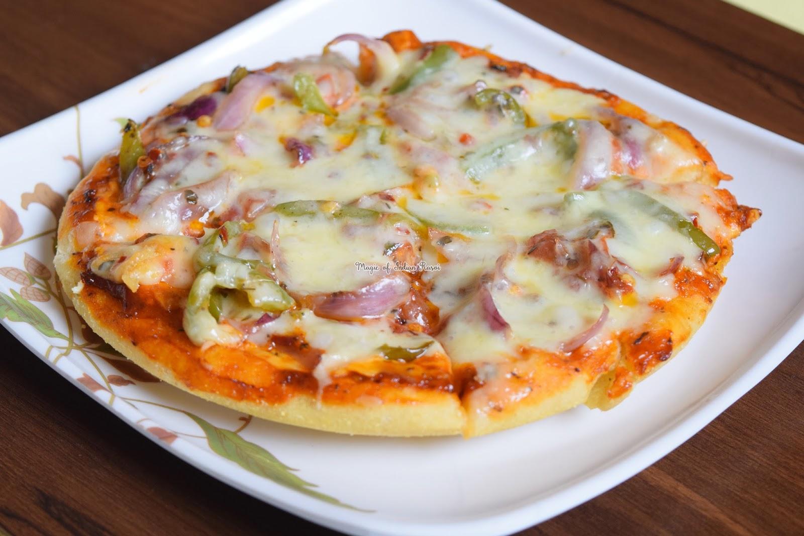 No Oven Veg Pizza - Pizza in Kadai Recipe - Homemade - No Yeast - नो ओवन वेज पिज्जा - पिज़्ज़ा कढ़ाई में बनाये - होममेड - बिना यीस्ट  रेसिपी - Priya R - Magic of Indian Rasoi