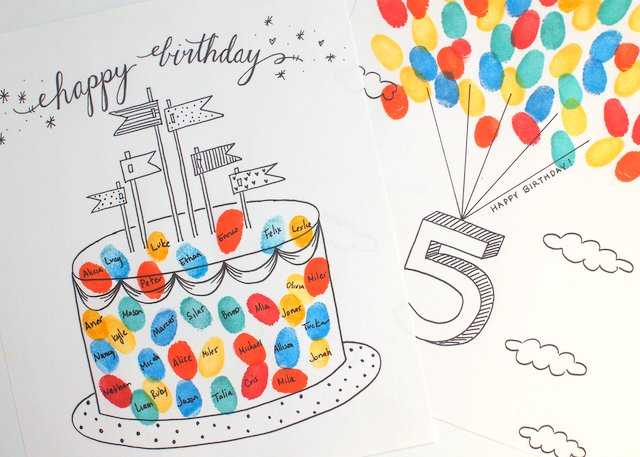 Free Printable Fingerprint Birthday Cards