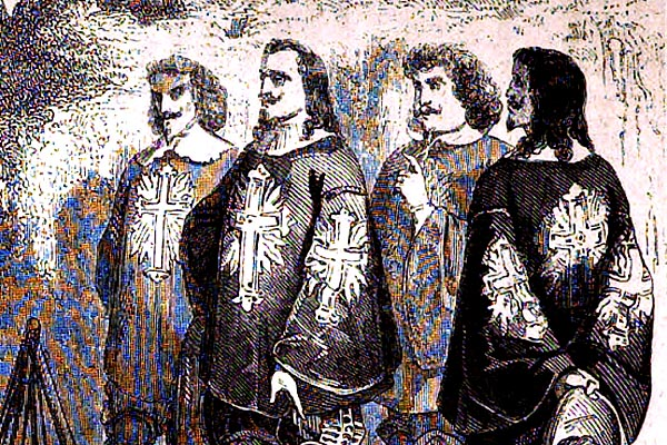 in a black-and-white pen-and-ink drawing, four long-haired men in capes and frilly clothes look off camera