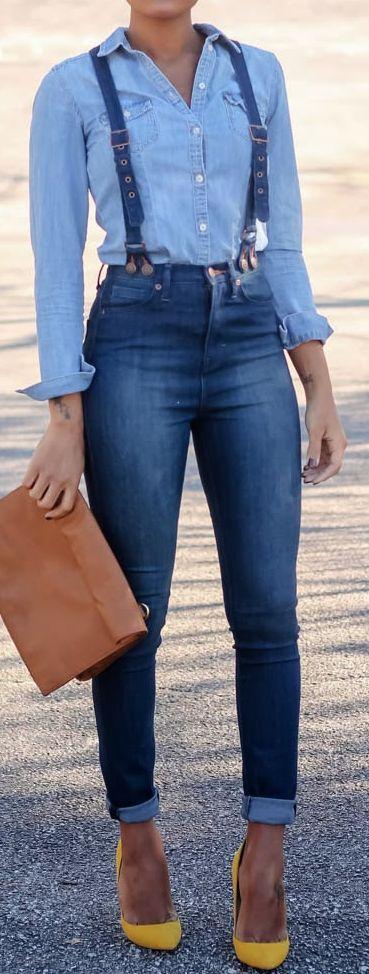 incredible fall outfit : denim shirt + brown bag + skinny jeans + heels