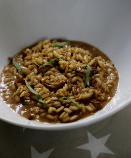 risotto , champignons séchés