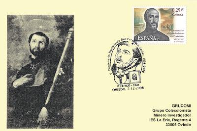 matasellos, filatelia, tarjeta, Centro Asturiano, San Francisco Javier