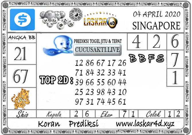Prediksi Togel SINGAPORE LASKAR4D 04 APRIL 2020