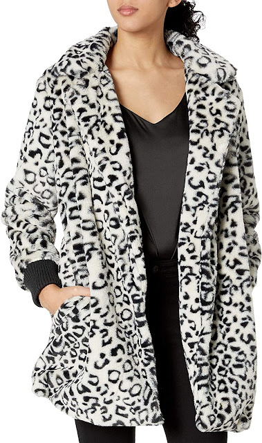 Women's Faux Fur Coats Jackets With Leopard Animal Fur Patterns