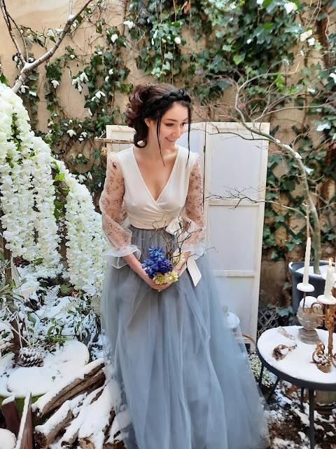 Robe de mariée Botanica Blue , D'ors et de Soie