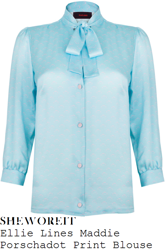 holly-willoughby-ellie-lines-maddie-aqua-blue-porschadot-print-pussybow-silk-blouse