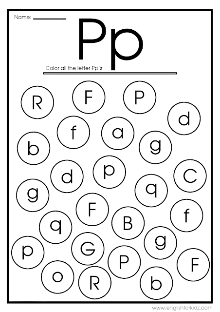 Find letter P worksheet -- printable ESL materials to teach English alphabet