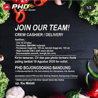 Loker Pizza Hut Delivery Tingkat SMA/SMK sederajat Bandung 2020