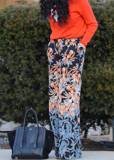 BCBG Floral Wide Leg Pants