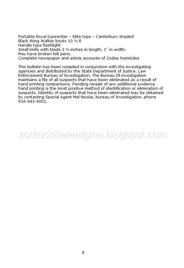 The Zodiac Killer Enigma - California Department of Justice Special Report on the zodiac