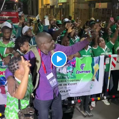Fans Dance And Rejoice As They Celebrate The Super Eagles Leaving Cairo Stadium After Win Against Bafana Bafana