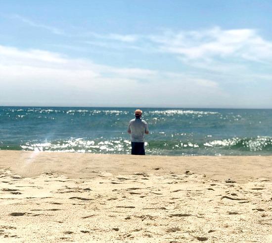 Man fishing on the beach