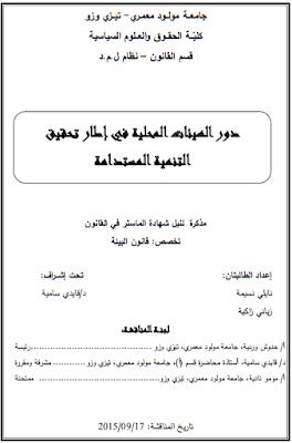 مذكرة ماستر : دور الهيئات المحلية في إطار تحقيق التنمية المستدامة PDF