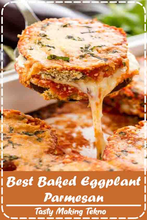 Delicious Baked Eggplant Parmesan with crispy coated eggplant slices smothered in cheese and marinara.