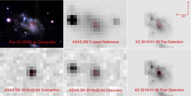 Six images showing the host galaxy of the newly discovered supernova ASASSN-18bt. The top row shows three images from before the explosion taken by Pan-STARRS, ASAS-SN, and Kepler. The bottom row shows images from ASAS-SN and Kepler after the supernova was visible. The discovery image from the ASAS-SN team is in the bottom middle. To its left is a version with all the surrounding stars eliminated, showing only the new supernova's light output. On the bottom right is a Kepler image from after the supernova was detected. Kepler's precision was crucial to understanding the light from ASASSN-18bt in the early hours after the explosion.