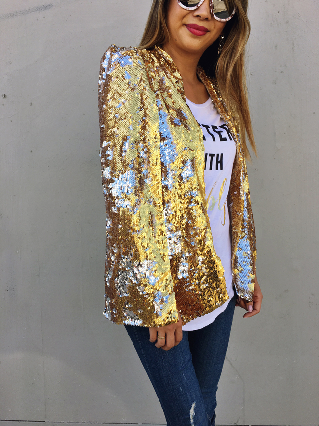Gold Sequin Cape Style