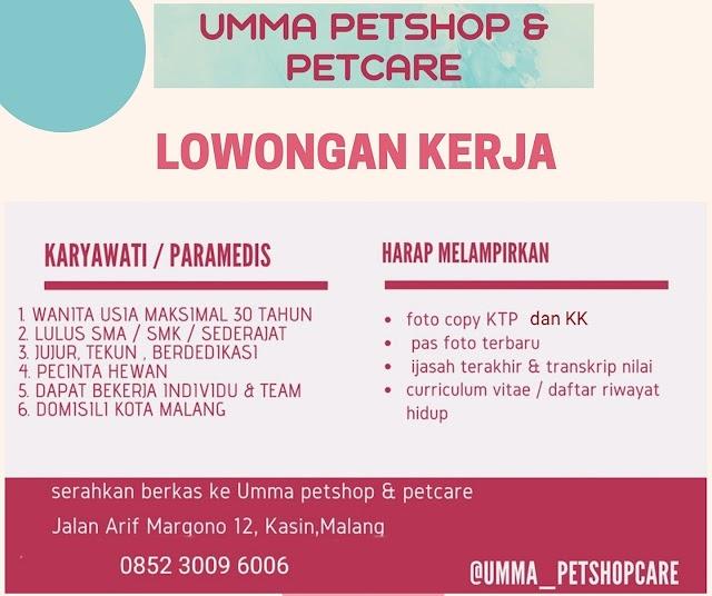 Loker Malang Terbaru Umma Petshop & Petcare