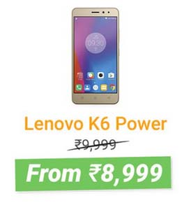 Lenovo K6 Power @ ₹8,999 + 10% Instant Discount with HDFC Bank Debit & Credit Cards