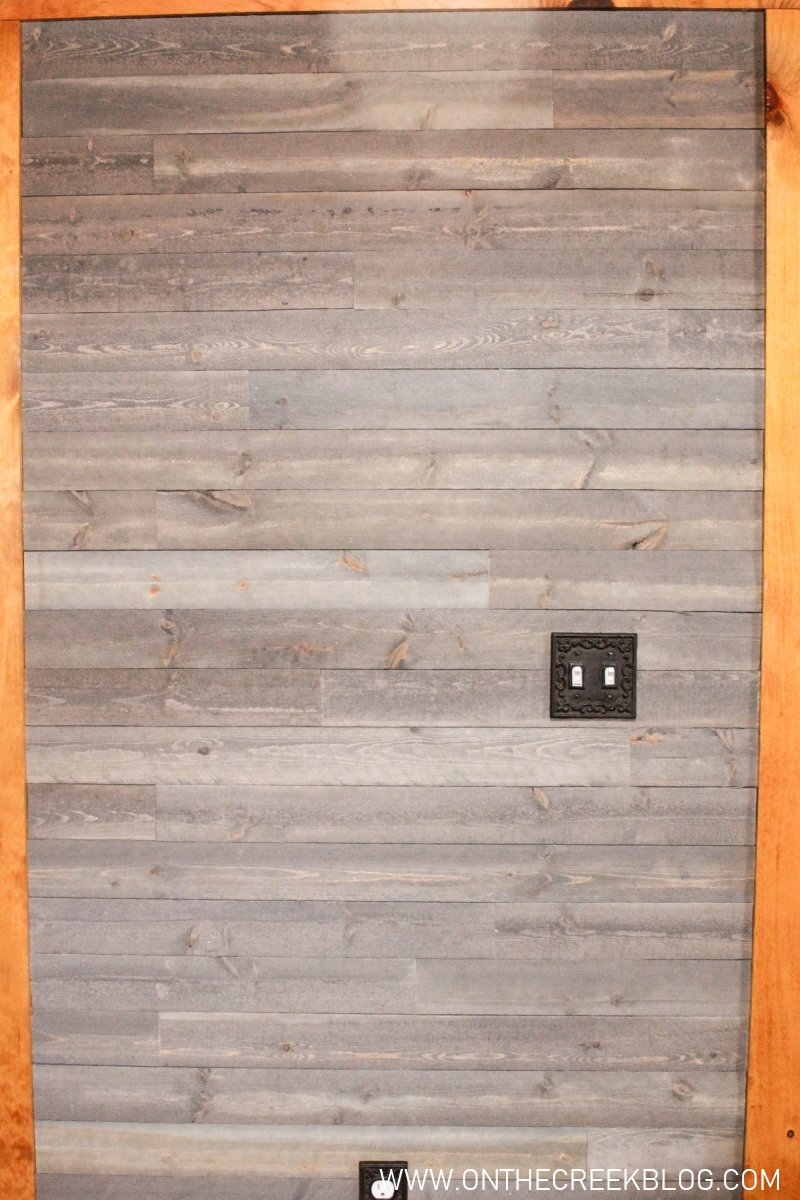 DIY rustic shiplap wall using C&C Wood Heritage Series in Gunmetal Grey | On The Creek Blog