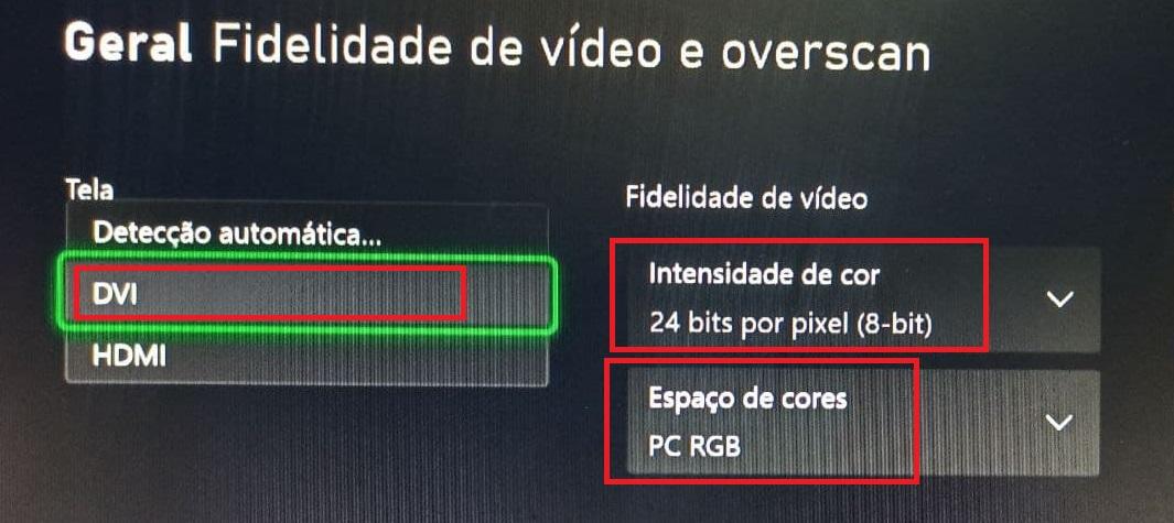Configurações XBOX RESOLUÇÃO