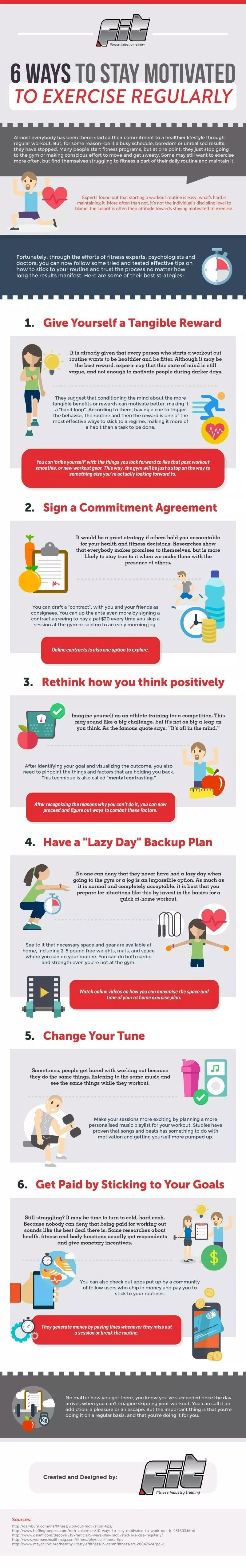 6 Ways to Stay Motivated to Exercise Regularly #infographic