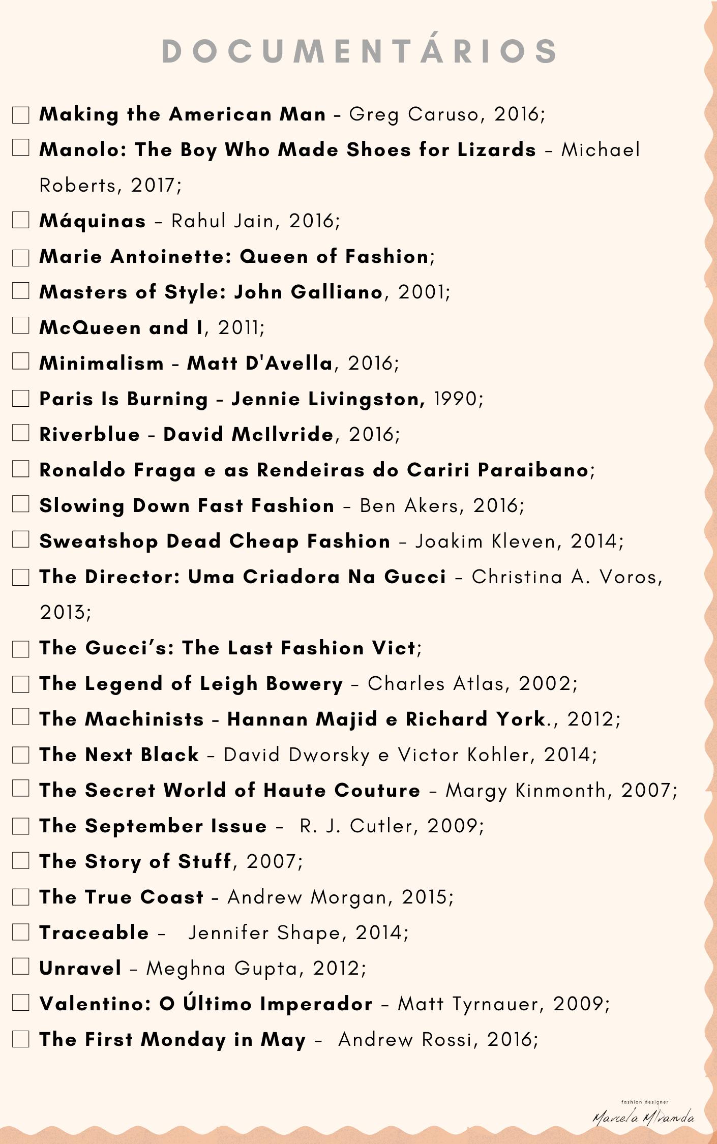 Documentários sobre moda
