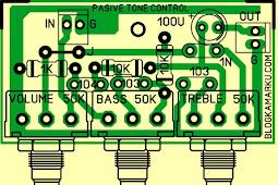 tone control mono Passive Layout PCB untuk Audio